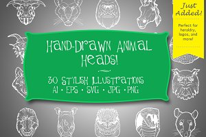 Hand Drawn Animal Heads