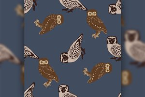 Hand drawn seamless pattern with owls.