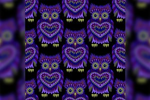 Seamless pattern with bright owls.