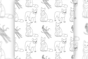 Black and white seamless pattern with pets.