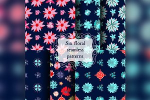 Set of seamless patterns with beautiful flowers.
