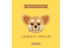 Mouse Logo in Flat, vector illustration