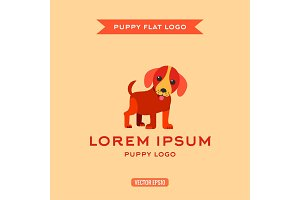 Dog, puppies, style flat, vector illustration, logo