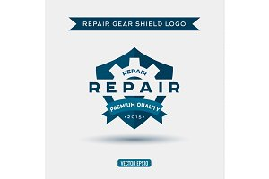 Logo of the elements shield and repair, gears, vector illustration