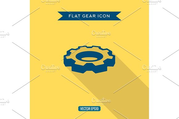 Icon Volumetric Gear In The Flat With Shadow Vector