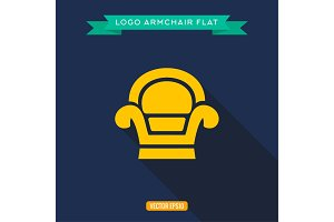 Armchair, logo, flat icon, vector illustration