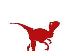 Raptor reptile flat plain icon illustration dinosaur