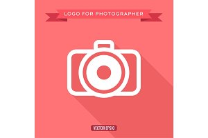Camera icon logo flat style, vector illustration