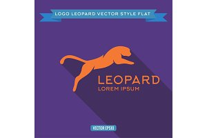 Logo wild felines into flat, icon vector illustration
