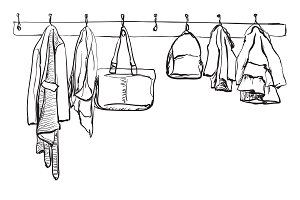 Clothes on the hanger. Wardrobe