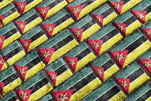 Mozambique Grunge Flag Pattern