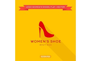 logo womens shoes with a heel icon vector illustration
