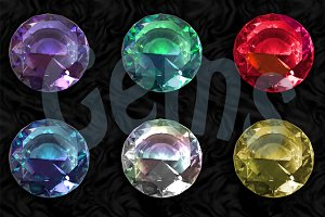 6 glittering high quality gemstones