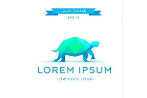logo emerald tortoise, low poly, triangular polygons, vector illustration icon