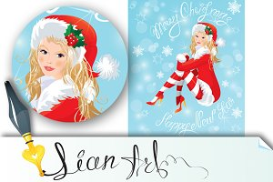 Blond Pin Up Christmas Girl