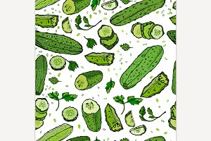 Hand Drawn Cucumber Pattern