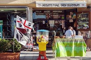 Typical souvenir shop in Sardinia