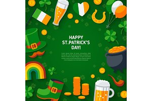 Happy St. Patrick's Day Green Background