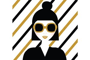 Girl in sunglasses. Vector+jpg