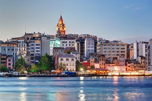 Galata district at night, Istanbul