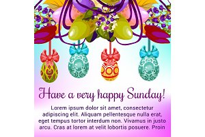 Easter Sunday greeting card with egg and flower