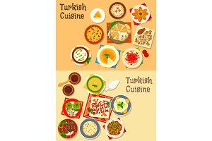 Turkish cuisine traditional dinner dishes icon