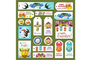 Easter tag, label and card set, cartoon design