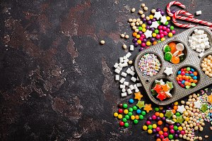 Colorful candies and lollipops