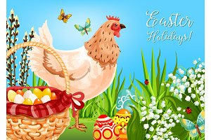 Easter chicken with eggs greeting card design