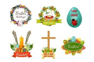 Easter spring holiday cartoon symbol set