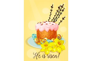 Easter holiday cake with eggs greeting card design