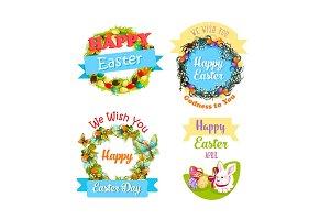 Easter eggs and rabbit cartoon symbol set design