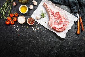 Raw tomahawk beef steak