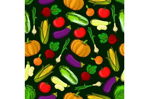Vector icons of vegetables in seamless pattern