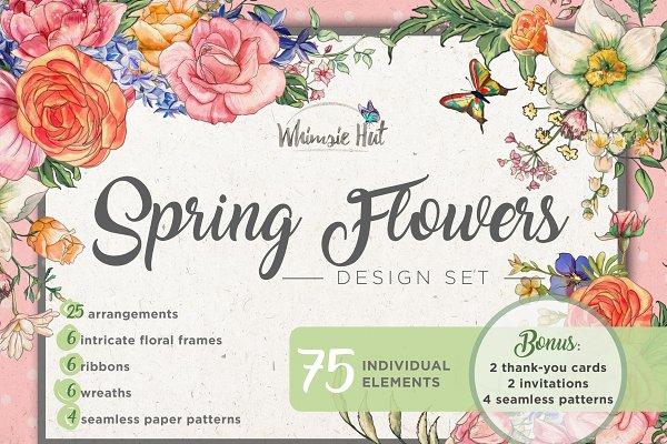 Spring flowers design set