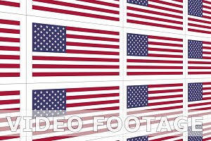 Postcards with United States national flag looped