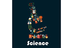 Science poster with microscope symbol