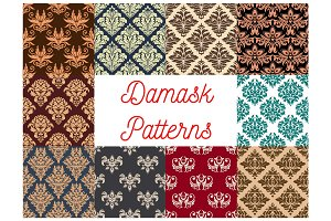 Damask seamless decoration patterns set