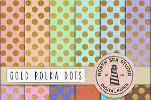 Gold Polka Dot Digital Paper