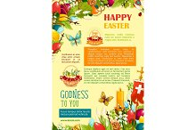 Happy Easter poster template with egg and flowers