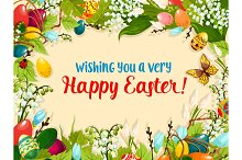 Easter egg and flower greeting card design