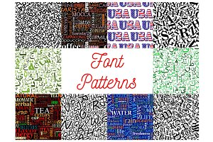 Font seamless patterns with letters and numbers