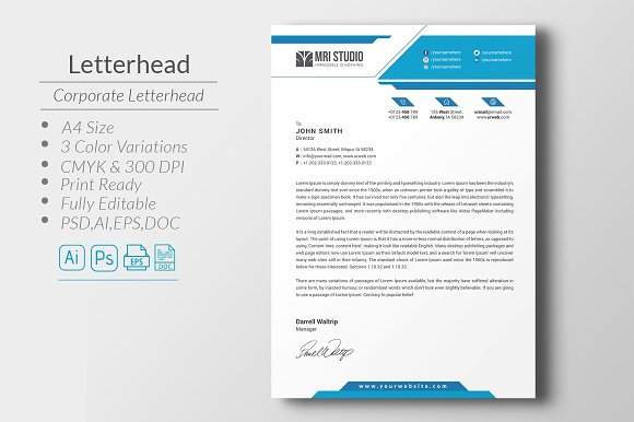 corporate letterhead stationery templates creative market
