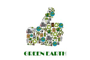 Green Earth environment protection thumb up poster