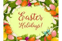 Easter wreath of egg, flower greeting card design