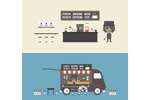 coffee shop and mobile coffee