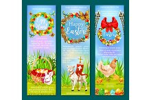 Easter Holiday and Egg Hunt banner template set