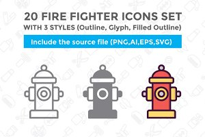 20 FireFighter Icon With 3 Styles