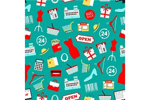 Shopping seamless vector pattern of clothing icons