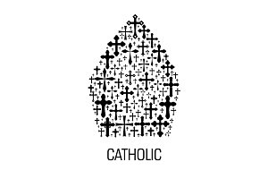 Catholic mitre hat shape emblem with cross icons